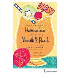 Engagement Party Invitations – luau tropical drink engagement party invitation