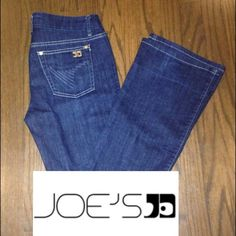 "Joe's Jeans Muse Bootcut These dark-wash boot-cut jeans feature 5-pocket styling and a single-button closure. Stitching at back pockets and whiskering at front. Worn edges and mild distressing.  * 9"" rise. 35"" inseam. Great considering. Worn only a few times. Joe's Jeans Jeans Boot Cut"