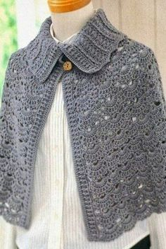 Fabulous Crochet a Little Black Crochet Dress Ideas. Georgeous Crochet a Little Black Crochet Dress Ideas. Crochet Cape, Crochet Cardigan, Crochet Scarves, Irish Crochet, Crochet Clothes, Knit Crochet, Lace Sweater, Free Crochet, Crochet Shawls And Wraps