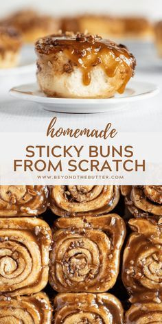 This Homemade Sticky Buns from Scratch recipe is a simple dough that's slathered in a buttery cinnamon sugar, and topped with an caramelized pecan topping. Sweet Breakfast, Breakfast Recipes, Homemade Breakfast, Perfect Breakfast, Köstliche Desserts, Dessert Recipes, Cinnamon Bun Recipe, Cinnamon Rolls, Sweet Recipes