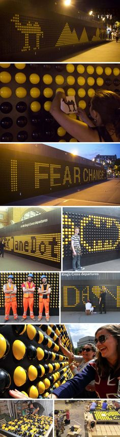 2940 yellow and black plastic spheres across a wall made up the fun and engaging interactive pop-up installation at London's King's Cross station called Song Board. Designed by the students at Central Saint Martins University of the Arts in London Installation Interactive, Interactive Walls, Interactive Design, Installation Art, Art Installations, Interactive Exhibition, Interactive Display, Environmental Graphics, Environmental Design