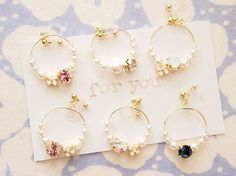 """134*""""for you"""" 6colors ホワイトパールとカラーストーン お花 ゆれるフープ樹脂ノンホールイヤリング Star Jewelry, Cute Jewelry, Beaded Jewelry, Handmade Accessories, Jewelry Accessories, Earrings Handmade, Handmade Jewelry, Diy Inspiration, Bead Earrings"""