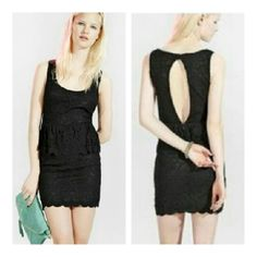 Pins and Needles Black Peplum Lace Dress Urban Outfitters. Dress is fully lined. The material is 90% cotton and 10%nylon. The lining is 100% poly. Excellent like new condition B5 Pins & Needles Dresses Mini