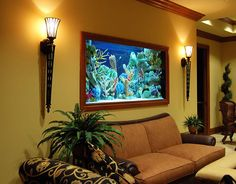 fish tank designs for living room large aquarium with stone edges ideas integrate aquarium designs in.fish tank in living room small fish tank… Aquarium Design, Home Aquarium, Aquarium Fish Tank, Aquarium Ideas, Fish Aquariums, Aquarium Decorations, Saltwater Aquarium, Living Room Designs, Living Room Decor