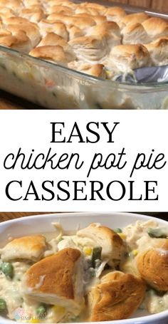Chicken Pot Pie Casserole with Biscuits Serve up comfort food for dinner with this easy twist on an old favorite. Chicken pot pie casserole with canned biscuits is a delicious easy weeknight dinner. Chicken Pot Pie Casserole, Easy Chicken Pot Pie, Chicken And Biscuits, Recipe Chicken, Chicken Recipes, Biscuit Chicken Pot Pie, Broccoli Recipes, Tofu Recipes, Steak Recipes