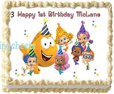 Bubble Guppies Edible icing photo birthday cake decorations frosting top