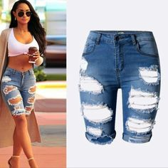 New! Destroyed Bermuda cuffed denim shorts 5 Brand new never worn, the perfect look for summer!   No TRADES PLEASE DONT ASK! Shorts Bermudas