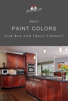 Kitchen Wall Color with Cherry Cabinet. Kitchen Wall Color with Cherry Cabinet. Cherry Wood Kitchen Cabinets, Cherry Wood Kitchens, Best Kitchen Cabinets, Painting Kitchen Cabinets, Oak Kitchens, Colorful Kitchens, Kitchen Walls, Kitchen Counters, Kitchen Paint Colors With Cherry