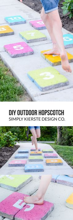 DIY Outdoor Hopscotch | simply kierste.com | Quickly and easily make this adorable DIY Outdoor Hopscotch set...it's perfect addition to your backyard this summer, and great for little feet and grownup ones too!