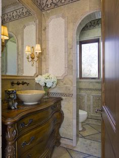 Cheap Decoration for Bathroom Following These Tips: Classic Style Powder Room With Sophisticated Carved Vanity Working With Bowl Sink And Cl...