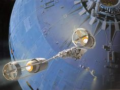 Y-wing and Death Star, by Ralph McQuarrie.