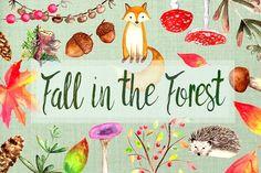 Watercolor Fall Clip Art Set by Tati Bordiu on @creativemarket