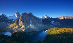 Mount Assiniboine and Sunburst Peak on a beautiful autumn morning on the British Columbia/Alberta border in Canada.