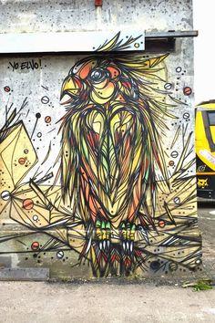 """Papagallo"" a new street piece by DZIA in Turin, Italy"