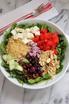 Greek Salad with Couscous - Green Valley Kitchen