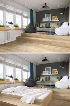 Small Apartment Ideas -- Hide your bed under a raised living area.