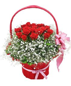 Protect Forever, 19 red roses in flowers basket - delivered in China - send flowers Send Flowers, Flower Basket, Red Roses, Flower Arrangements, Beautiful Flowers, Baskets, Centerpieces, Floral Wreath, Wreaths