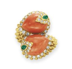 A Coral, Emerald and Gold Ring,  by David Webb, circa 1967.  Formerly in the Collection of  Elizabeth Taylor
