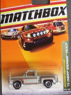 Matchbox Outdoor Sportsman 1975 Chevy Stepside Pickup by Matchbox. $3.99. made in 2009. 1/64 scale. Ages 3+. #76 of 100. diecast body and plastic chassis. DIE CAST