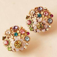 Pair of Rhinestone Flower Earrings