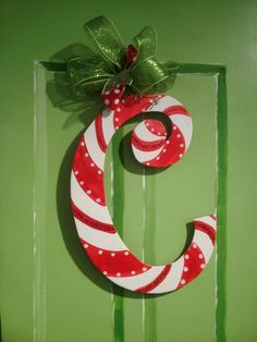 Christmas Candy Cane Letter Door Hanger