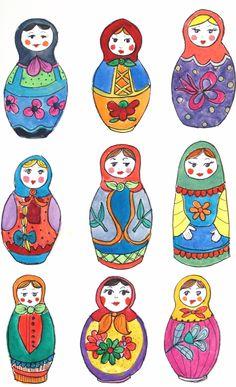 drawing- different Matriochka shapes Folk Art Flowers, Illustration Art, Illustrations, Matryoshka Doll, Russian Art, Art Lesson Plans, Patch, Art Education, Oeuvre D'art