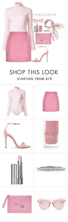 """""""On Wednesdays We Wear Pink"""" by lucyagnes ❤ liked on Polyvore featuring Courrèges, Gucci, Nails Inc., By Terry, Mark Broumand, Versus, Karen Walker and Manipuri"""