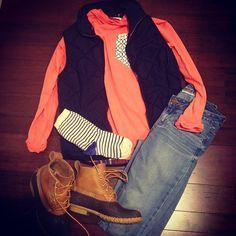 down vest+jeans+bean boots+coral shirt