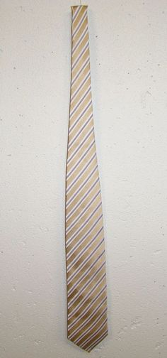 Shore & Singer Mens Gold Blue Striped 100% Silk Dress Neck Tie Necktie 58in #ShoreSinger #Tie
