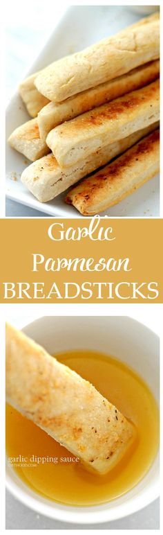 Easy Garlic Parmesan Breadsticks with Garlic Dipping Sauce - These homemade breadsticks are not only easy to make, but they come together in just 30 minutes from start to finish! Get the recipe on diethood.com