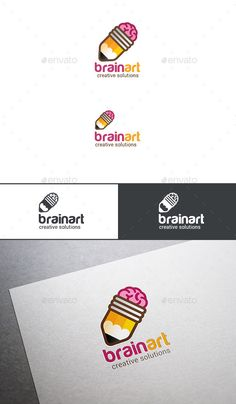 Logo Brain Pencil Brainstorm Ideas Template PSD, Vector EPS, AI. Download here: http://graphicriver.net/item/logo-brain-pencil-brainstorm-ideas/13685948?ref=ksioks
