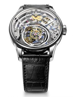 Zenith Christophe Colomb Skeleton.  45mm platinum case, skeleton dial, sapphire dials and blued steel hand