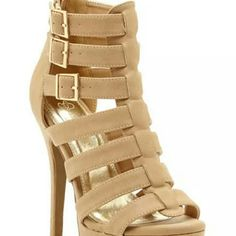 NEW IN BOX Super cute pair of strappy heels with functional buckles and zippers.  Your choice which to use.  Never worn. Shoes Ankle Boots & Booties