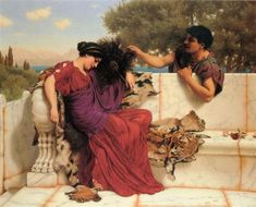 The Old, Old Story, 1903 by John William Godward. Neoclassicism. genre painting. Private Collection