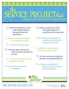 Service project list (printable)