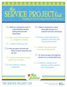 Service project list (printable)