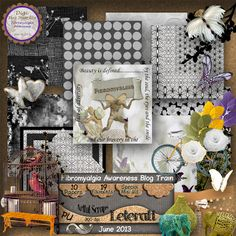 Leterati Artful Scraps Fibromyalgia Awareness Blog Train Mini Kit- 10 papers, 19 elements, 300 dpi PU