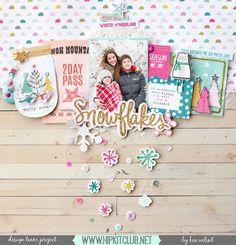 My shiny studio: Snowflakes - Hip Kit Club Scrapbook Page Layouts, Scrapbook Paper Crafts, Scrapbook Cards, Scrapbooking Ideas, Scrapbook Templates, Digital Scrapbooking, Hip Kit Club, Christmas Scrapbook, Christmas Layout