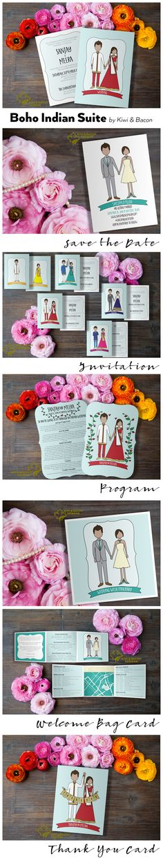 Indian Wedding Suite - Boho Indian by Kiwi and Bacon. Full suite of wedding stationery: save the date, invitation cards, program, welcome bag thank you & itinerary Indian Wedding Favors, Diy Wedding Gifts, Indian Wedding Cards, Wedding Gift Bags, Punjabi Wedding, Trendy Wedding, Wedding Ideas, Wedding Crafts, Wedding Themes