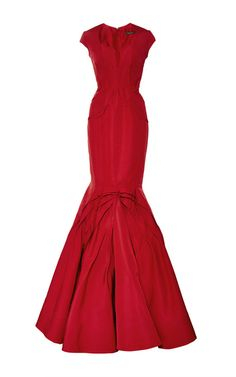 Paneled Silk-Faille Gown by Zac Posen Now Available on Moda Operandi