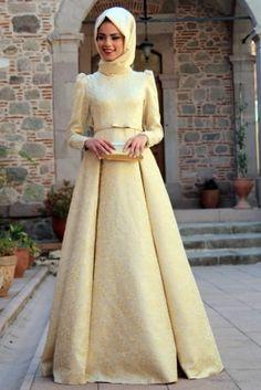 Mevra Gold Brokar Abiye Elbise