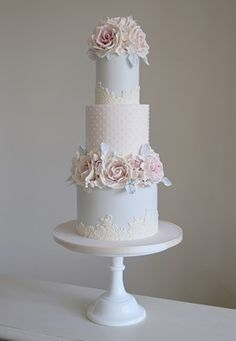 Super soft pink & blue with center tier  dotted Swiss, eatable lace around bottom of each level.