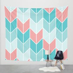 Mint Coral Chevrons Pattern Wall Tapestry by Doucette Designs | Society6#55=414#55=414