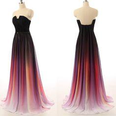 Pretty Chiffon Gradient Prom Dress, Gradient Prom Dresses, Prom Dresses 2016, Prom Gowns, Formal Gowns