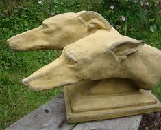 A pair of greyhound dog heads set on a plinth. a casting from a bronze original Hand made at our workshop in Sussex in frost proof reconstituted stone (composite) with an aged sandstone or faux bronze colour finish. Base measurements are x Dog Sculpture, Animal Sculptures, Greyhound Art, Stone Statues, Buddha Statues, Grey Hound Dog, Paperclay, Garden Stones, Garden Ornaments