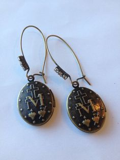 Locket Earrings Religious Symbol by DoubleDmentia on Etsy