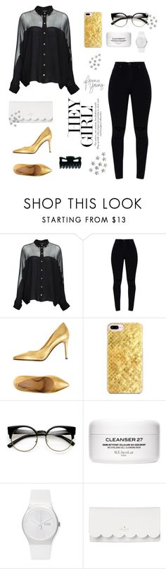 """""""gold//black"""" by at-39thst-fashion ❤ liked on Polyvore featuring Gucci, Marc Ellis, Casetify, ZeroUV, Swatch, Kate Spade, gold, black, Heels and iphone"""