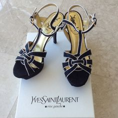 """Yves Saint Laurent tribute sandals Never used Nero/Argento tribute Yves Saint Laurant sandals. Heels are only 3"""" and platform is 1"""" so they're extremely comfortable. Perfect for all occasions and also for a formal night out. Has nice silver trim and light silver glitters on the black lining. 100% authentic and purchased at Nieman Marcus. Purchased with box but didn't come with the felt bag. Yves Saint Laurent Shoes Sandals"""