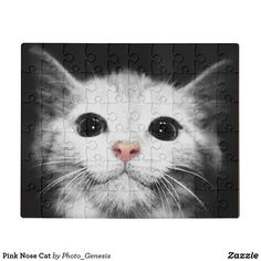 Pink Nose Cat Jigsaw Puzzle Baby Kittens, Kittens Cutest, Unique Presents, Unique Gifts, Black And White Style, Cat Wallpaper, White Cats, Cool Gifts, Jigsaw Puzzles