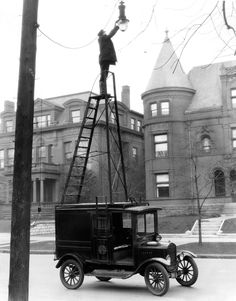 A Ford Model T, used as a maintenance truck for street lights. 1926